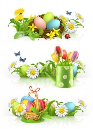 Easter, Spring flowers 3d vector banner set