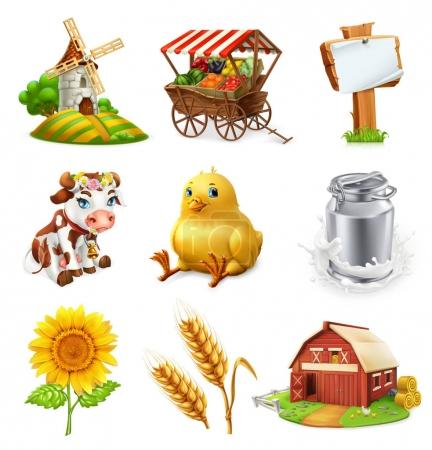 Farm set. Agricultural plants, animals and buildings. 3d vector icon