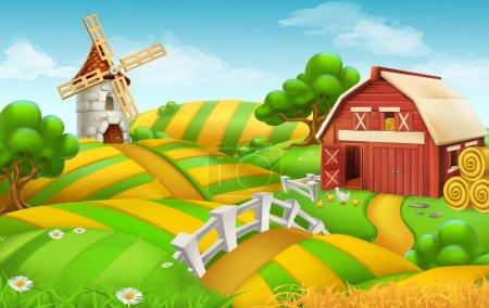 Farm field landscape, 3d vector background