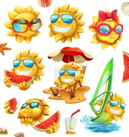 Fun summer sun, vector characters. 3d icon set