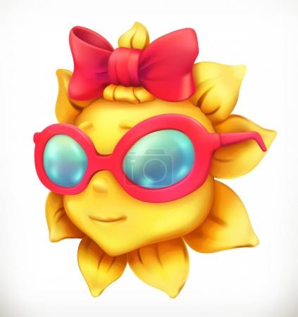 Fun summer sun. Little girl, 3d vector icon