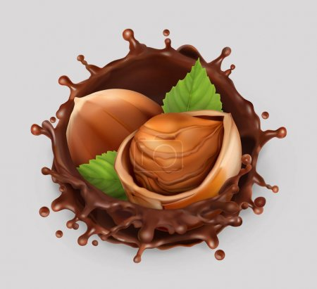 Hazelnut and chocolate splash. Realistic illustration. 3d vector icon