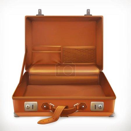 Open suitcase, 3d vector icon