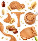 Peanut butter 3d vector icon set