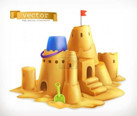 Sand play, sandcastle 3d vector icon