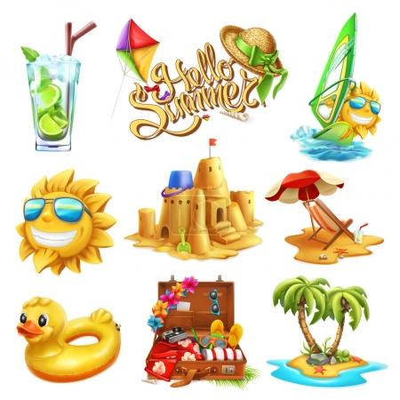 Summer set. 3d vector icon