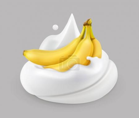 Whipped cream and banana, vector icon