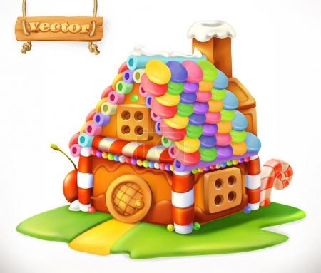 Sweet house. 3d vector icon
