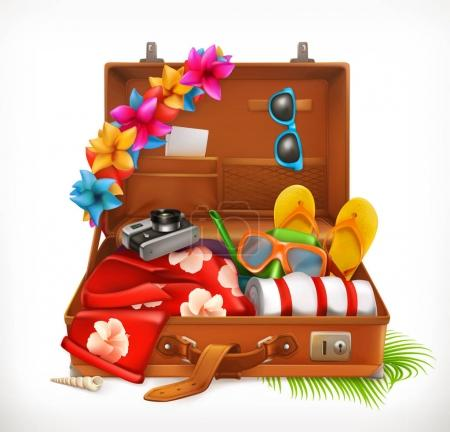 Tropical Holidays. Summer vacation, open suitcase. 3d vector icon