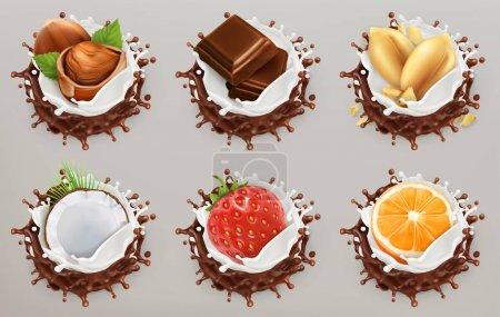 Illustration pour Fruits, baies et noix. Du lait et des éclaboussures de chocolat, de la glace. Ensemble d'icônes vectorielles 3d - image libre de droit