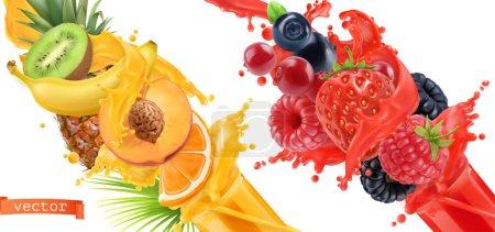 Illustration pour Des fruits ont éclaté. Un peu de jus. Fruits tropicaux doux et baies de forêts mixtes. Ensemble d'icônes vectorielles réalistes 3D - image libre de droit
