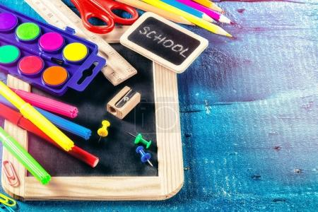 Photo for Colorful school supplies. Back to school concept with copyspace - Royalty Free Image