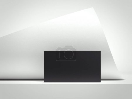 White rolled sheet and black business card. 3d rendering