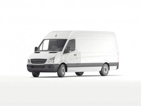 Photo pour Camionnette industrielle blanche. Modèle pour l'image de marque et l'identité d'entreprise sur les transports. Rendu 3d - image libre de droit