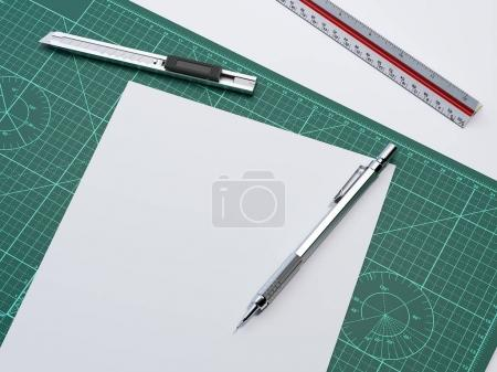 White paper sheet on cutting mat. 3d rendering
