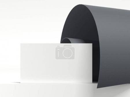 Dark rolled sheet and blank business card. 3d rendering