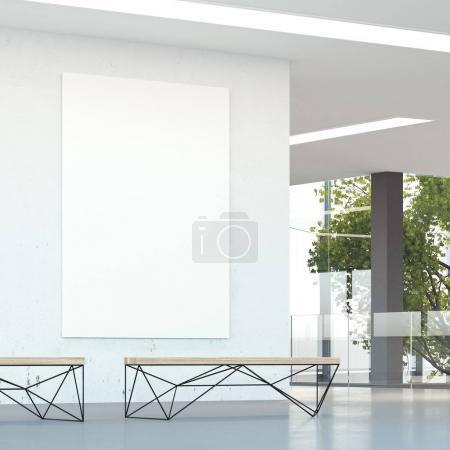 Foto de Pared blanca en el moderno hall de oficinas con dos bancos. renderizado 3d - Imagen libre de derechos