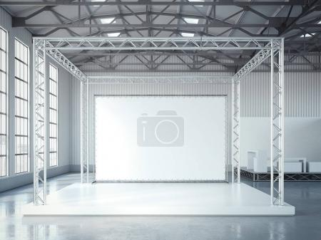 Photo for Empty stage with metal framework and blank billboard in modern exhibition interior with bright light. 3d rendering - Royalty Free Image