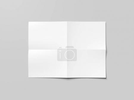 Blank white folded sheet of paper. 3d rendering