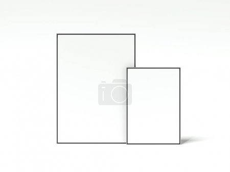 Two blank picture frames. 3d rendering