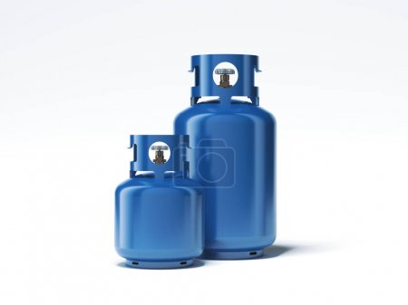 Two types of gas bottles isolated on white background. 3d rendering