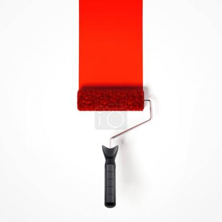 Red paint roller. 3d rendering