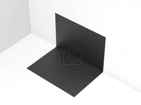 Black Folded paper sheet. 3d rendering