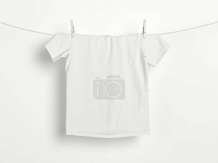 White t-shirt on a rope. 3d rendering