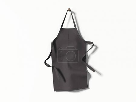 Photo for Black blank apron hanging on bright wall. 3d rendering - Royalty Free Image