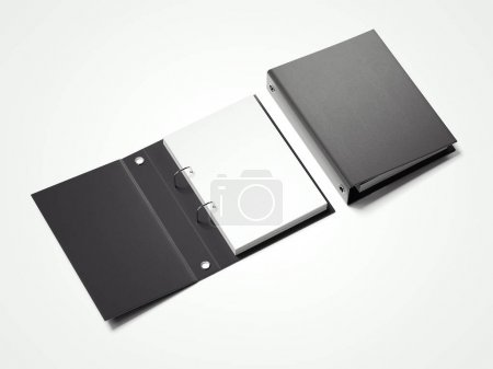 Black folder with white sheets. 3d rendering