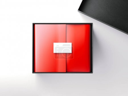 Black box with red wrapping paper and business card. 3d rendering