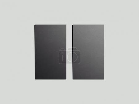 Two black business cards. 3d rendering