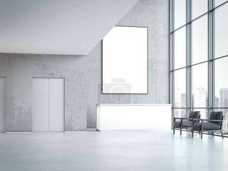 Photo pour Hall de bureaux modernes avec réception et bannière vierge sur le mur. rendu 3D - image libre de droit