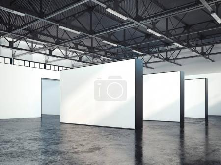 Modern bright loft gallery with blank walls. 3d renedring