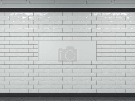 Wide white banner in subway. 3d rendering
