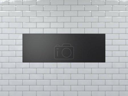 Blank black wide banner. 3d rendering
