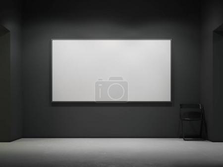 White blank canvas in the dark gallery. 3d rendering