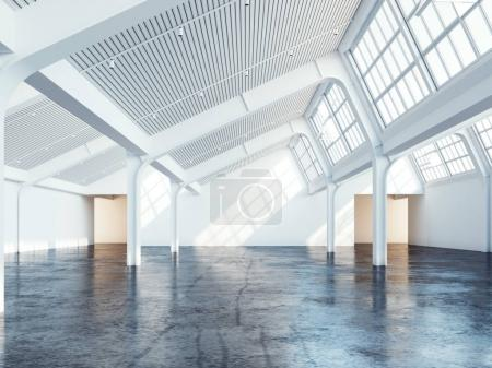 White clean industrial interior. 3d rendering