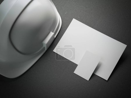 White helmet and business card. 3d rendering
