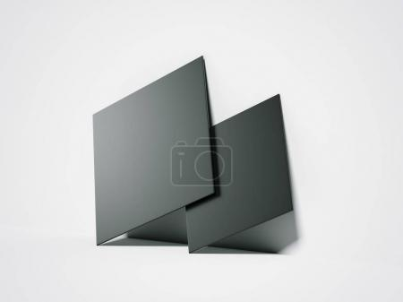 Two black blank canvases. 3d rendering