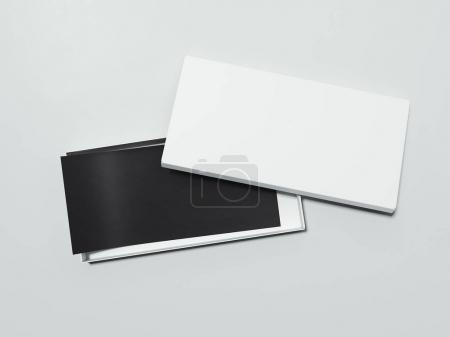 Blank White box with black flyer. 3d rendering