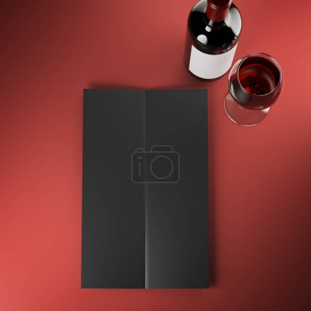 Wine black menu on red table. 3d rendering