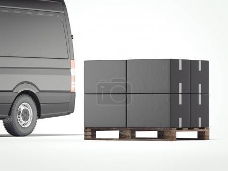 Black truck with dark packages. 3d rendering