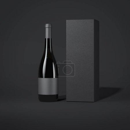 Bottle of wine. 3d rendering