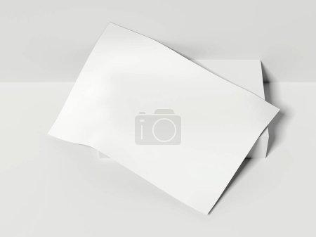 Feuille de papier blanc vierge se trouve. Rendu 3d