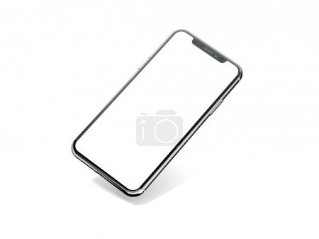 Black modern smartphone on white background. 3d rendering
