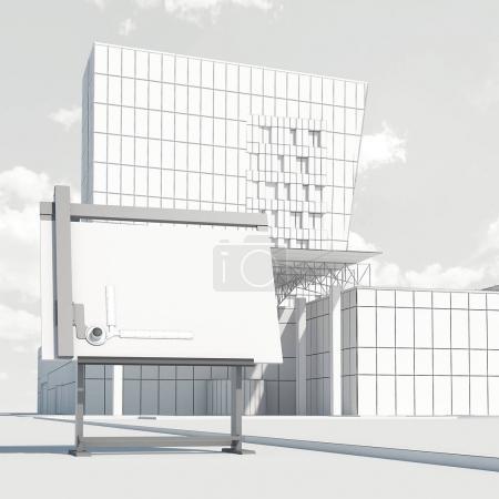 Drawing board and draft of the modern office building. 3d rendering