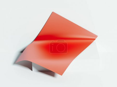 Blank red paper sheet lies. 3d rendering