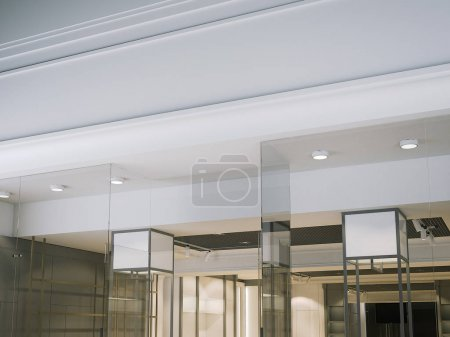 Blank white signage on the modern store. 3d rendering