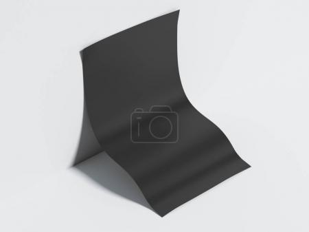 Blank black paper sheet. 3d rendering